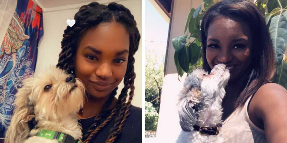 two photos of a woman with her dog